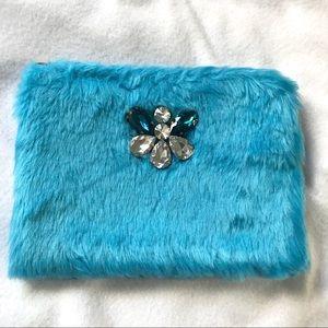 NWT Shiraleah Furry Blue Pouch